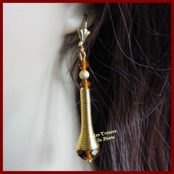 Boucles d'oreilles en cristal et métal BIRMANE