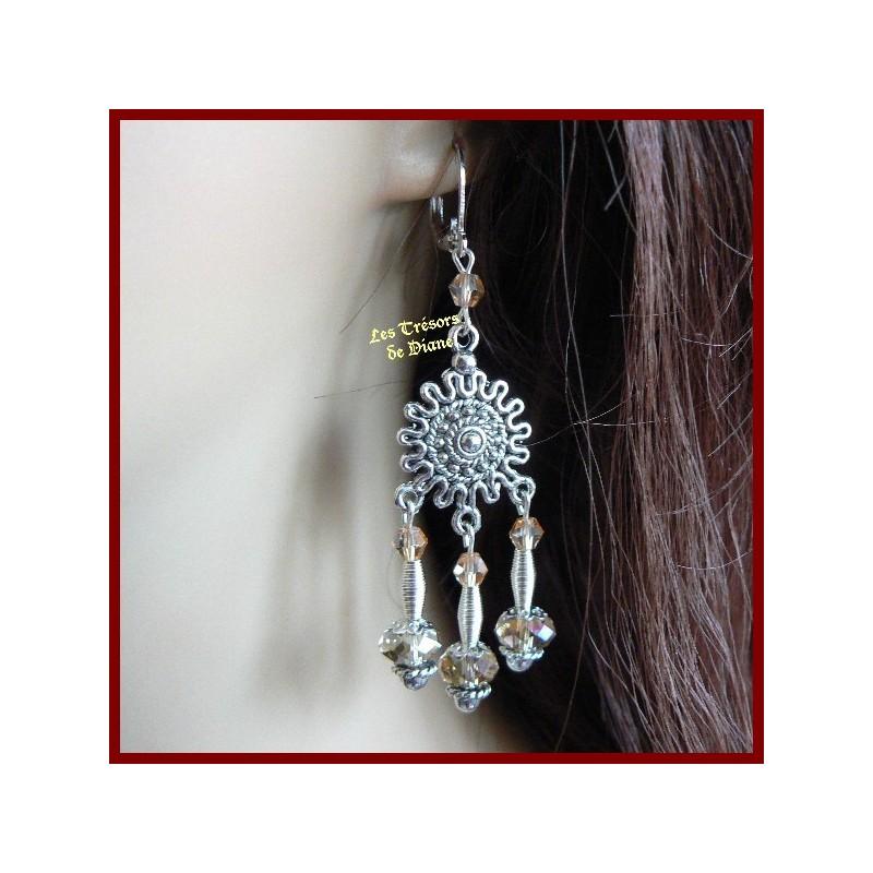 Boucles d'oreilles en cristal Swarovski et verre de bohême
