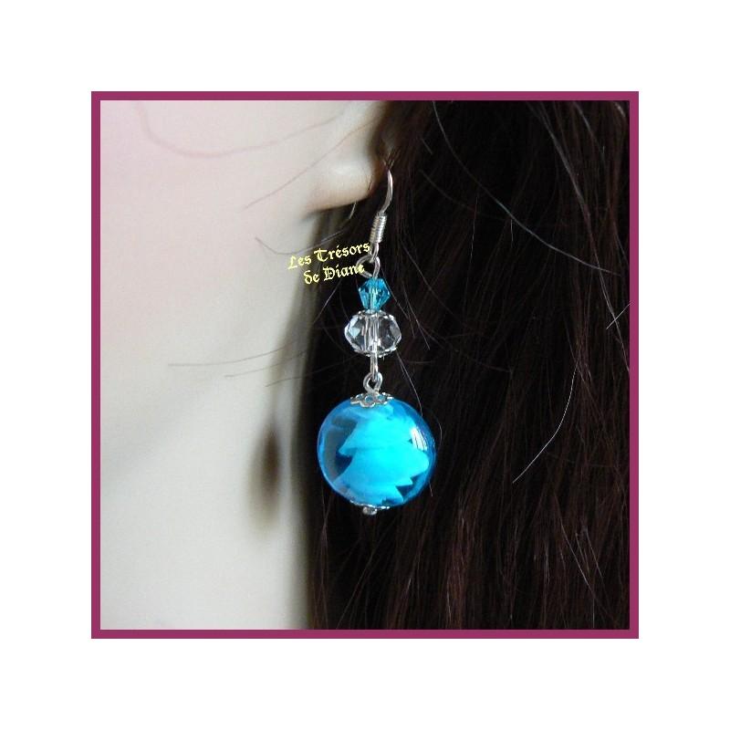 Boucles d'oreilles en verre soufflé chantilly turquoise et cristal