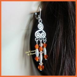 Boucles d'oreilles en cristal bohême et Swarovski orange
