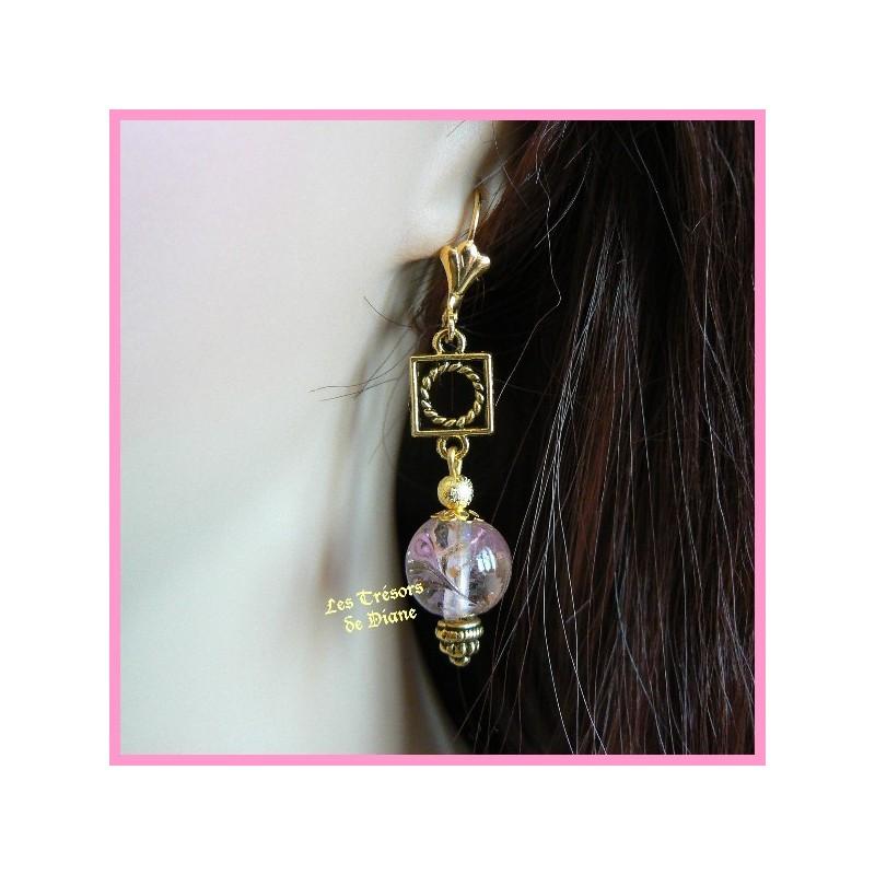 Boucles d'oreilles en verre Murano ancien rose