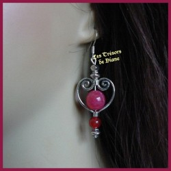 Boucles d'oreilles COEUR en jade rouge