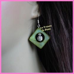 Boucles d'oreilles en nacre verte