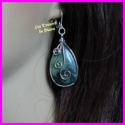 Boucles d'oreilles serties en JASPE KIMBALA