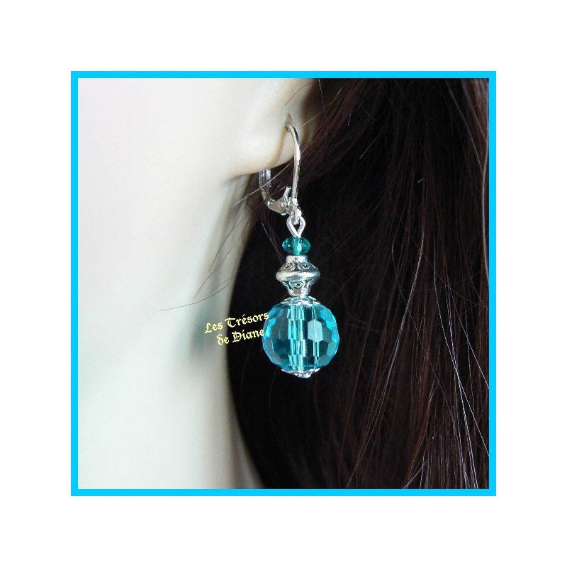 Boucles d'oreilles en cristal Swarovski bleu
