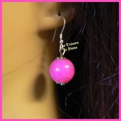 Boucles d'oreilles en jade rose