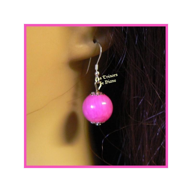 Boucles d'oreilles en jade jaune et cristal