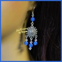Boucles d'oreilles en jade bleu