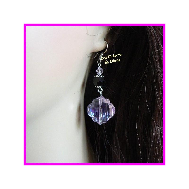 Boucles d'oreilles en verre et cristal de bohême