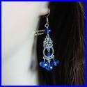 Boucles d'oreilles en cristal de Bohême bleu
