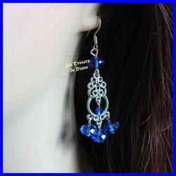 Boucles d'oreilles en cristal bleu