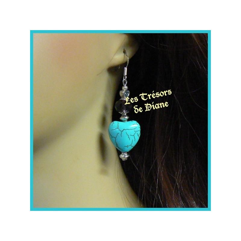 Boucles d'oreilles COEUR en turquoise et cristal Swarovski