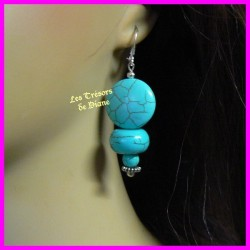 Boucles d'oreilles NEFERTARI en turquoise naturelle