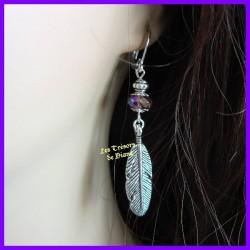 Boucles d'oreilles POCAHONTAS métal argent et cristal