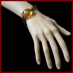 Bracelet avec véritable scorpion jaune du désert