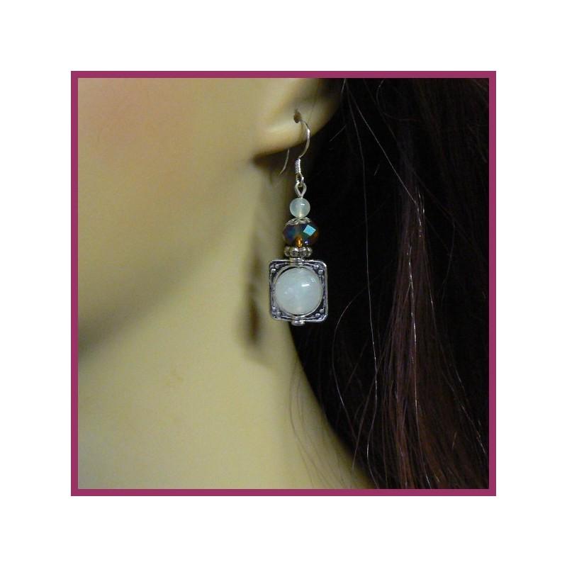 Boucles d'oreilles ECLIPSE en jade blanc, quartz et cristal Swarovski