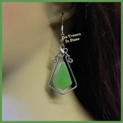 Boucles d'oreilles du Pérou en quartz naturel vert