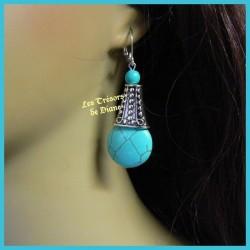 Boucles d'oreilles ISIS en turquoise