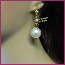 Boucles d'oreilles en perles ivoire