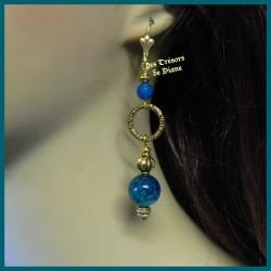 Boucles d'oreilles en agate dragon bleu canard