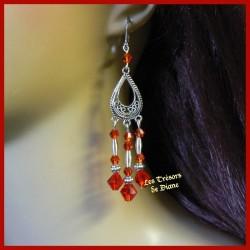 Boucles d'oreilles en cristal rouge