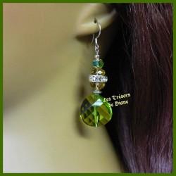 Boucles d'oreilles en verre facetté et cristal