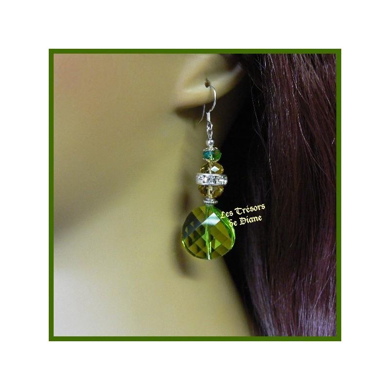 Boucles d'oreilles en verre faceté et cristal