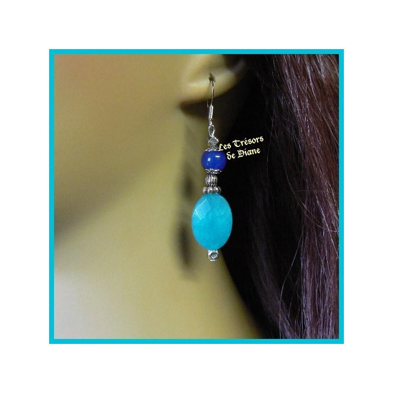 Boucles d'oreilles en jade bleu et agate naturels