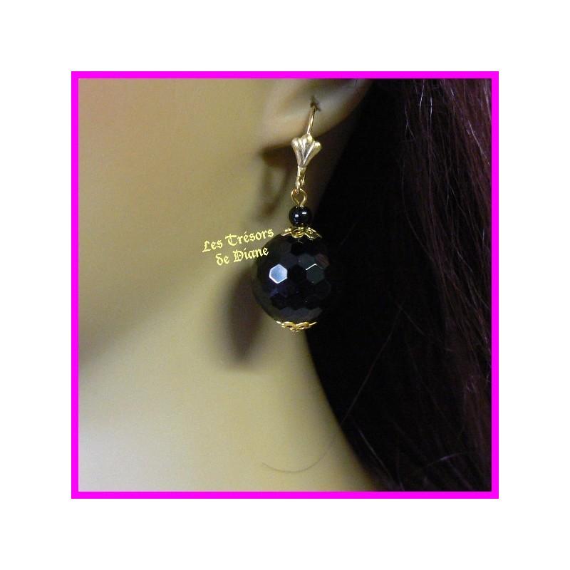 Boucles d'oreilles en onyx noir naturel faceté