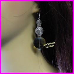 Boucles d'oreilles en verre et perles tibétaines