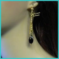Boucles d'oreilles en agate noires