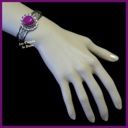 Bracelet arisanal en agate naturelle fuschia