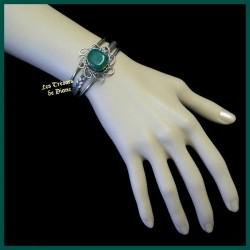 Bracelet arisanal en agate naturelle verte