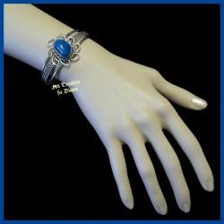 Bracelet arisanal en agate naturelle bleue
