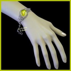 Bracelet du Pérou avec demie-sphère de verre jaune