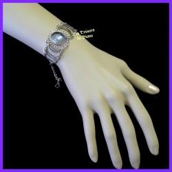 Bracelet du Pérou avec demie-sphère en verre améthyste