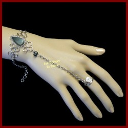 Bracelet de main en obsidienne naturelle