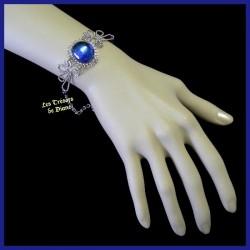 Bracelet du Pérou avec demie-sphère en verre bleu outremer AB