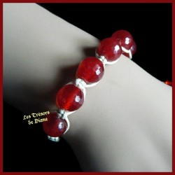 Bracelet Shamballa en jade naturel rouge