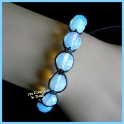 Bracelet Shamballa en opalite facetée