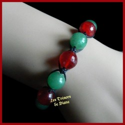 Bracelet Shamballa en jade naturel rouge et vert
