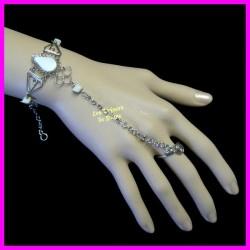 Bracelet de main en opale blanche naturelle