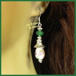 Boucles d'oreilles en jade et verre Murano