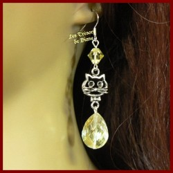 Boucles d'oreilles KITTY en cristal faceté jaune