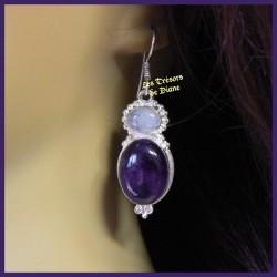 Boucles d'oreilles PRESTIGE en améthyste et pierre de lune