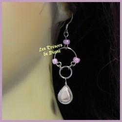 Boucles d'oreilles du Pérou en verre rose