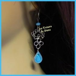 Boucles d'oreilles péruviennes en verre turquoise
