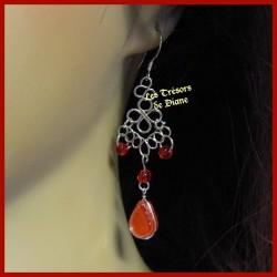 Boucles d'oreilles du Pérou en verre rouge