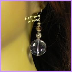 Boucles d'oreilles en verre mauve et cristal Swarovski