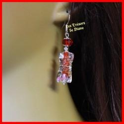Boucles d'oreilles en verre et cristal
